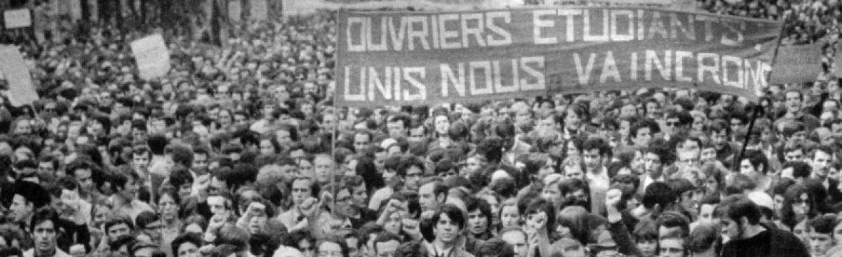 mai 68 étudiants et touvriers unis nous vaicnrons photographie manifestation